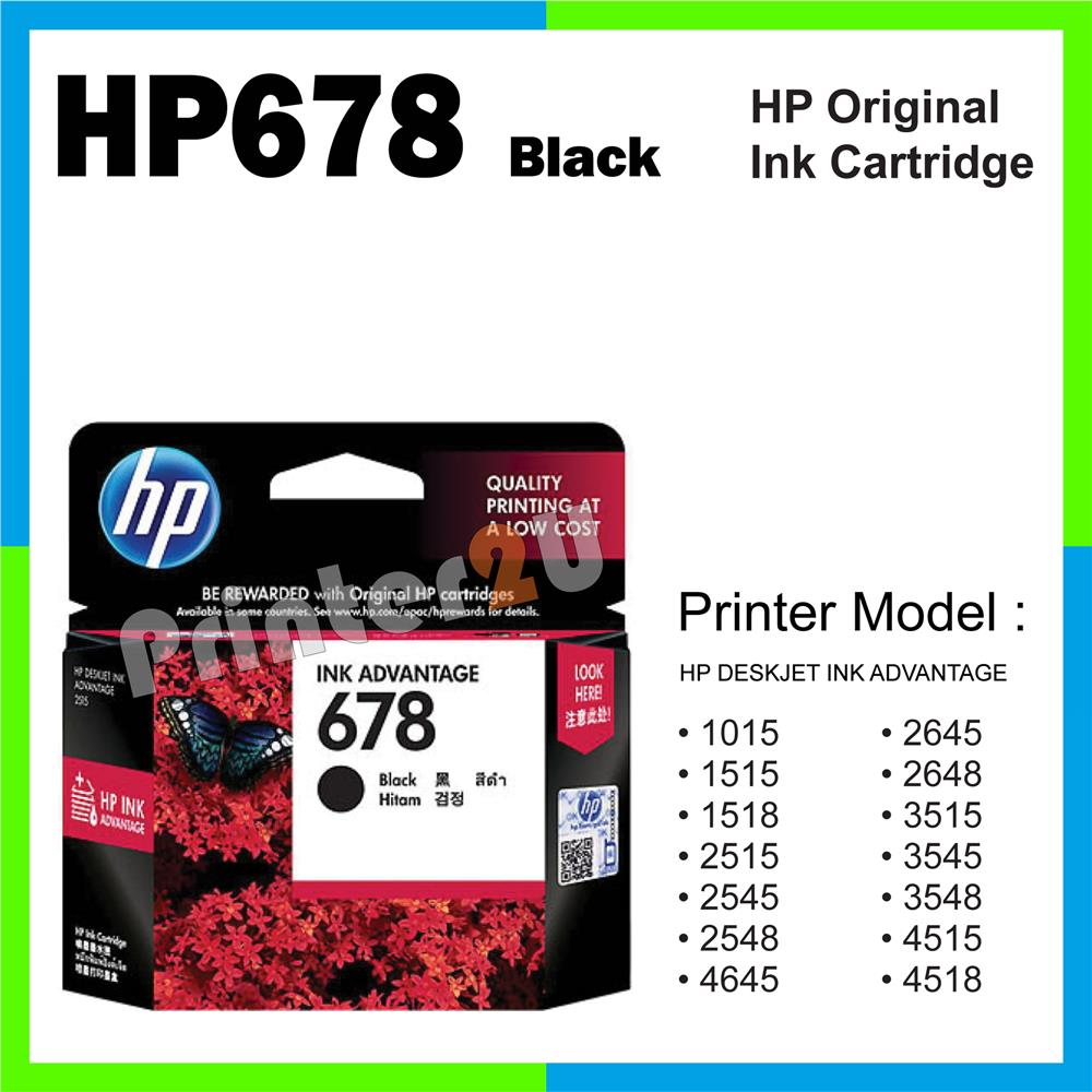 Ori HP Original Inkjet Ink Cartridge HP 678 Black 1015 1515 1518 2515
