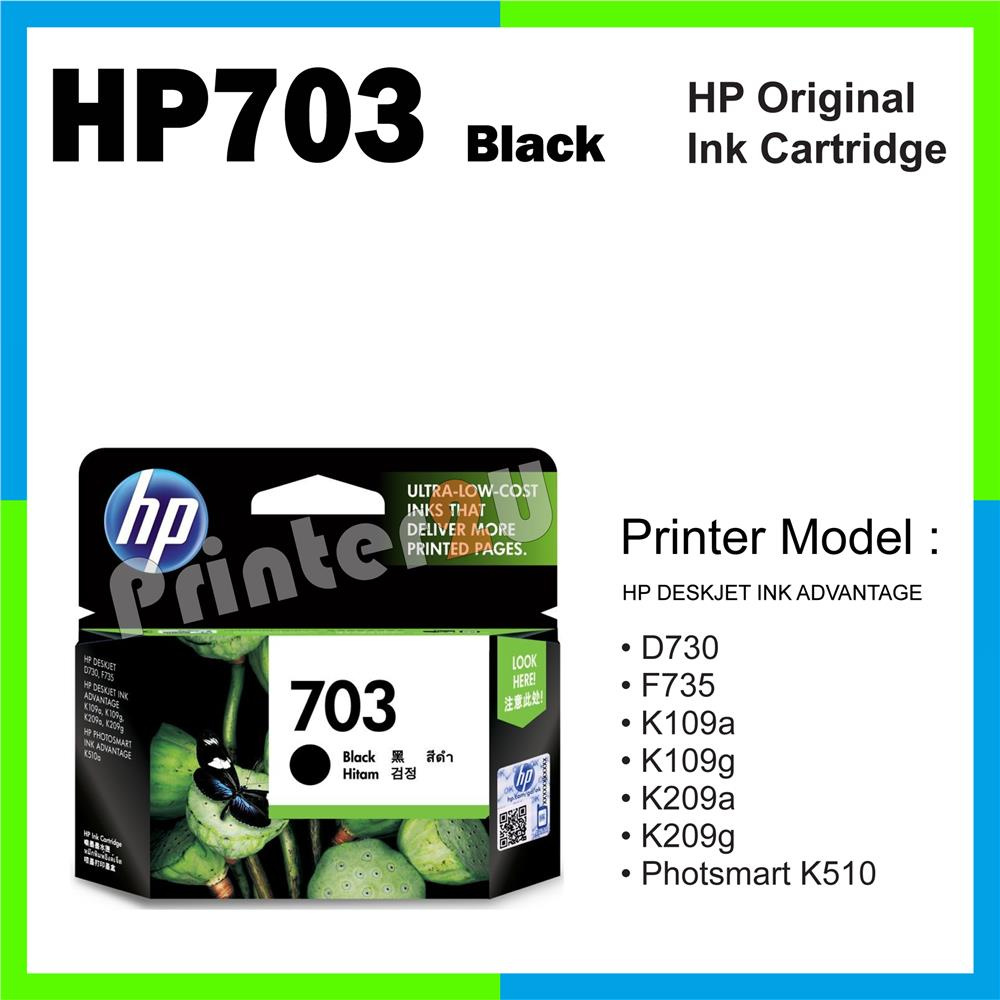 Ori HP Original Inkjet Ink Cartridge HP 703 Black K209g Photsmart K510