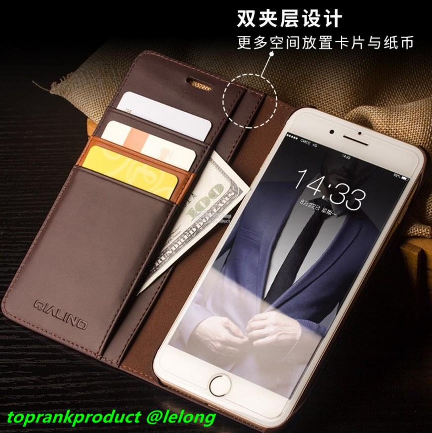 new arrival b5ce9 7f1a7 Ori Qialino Apple iPhone 8 / Plus Flip Cow Leather Case Cover Casing
