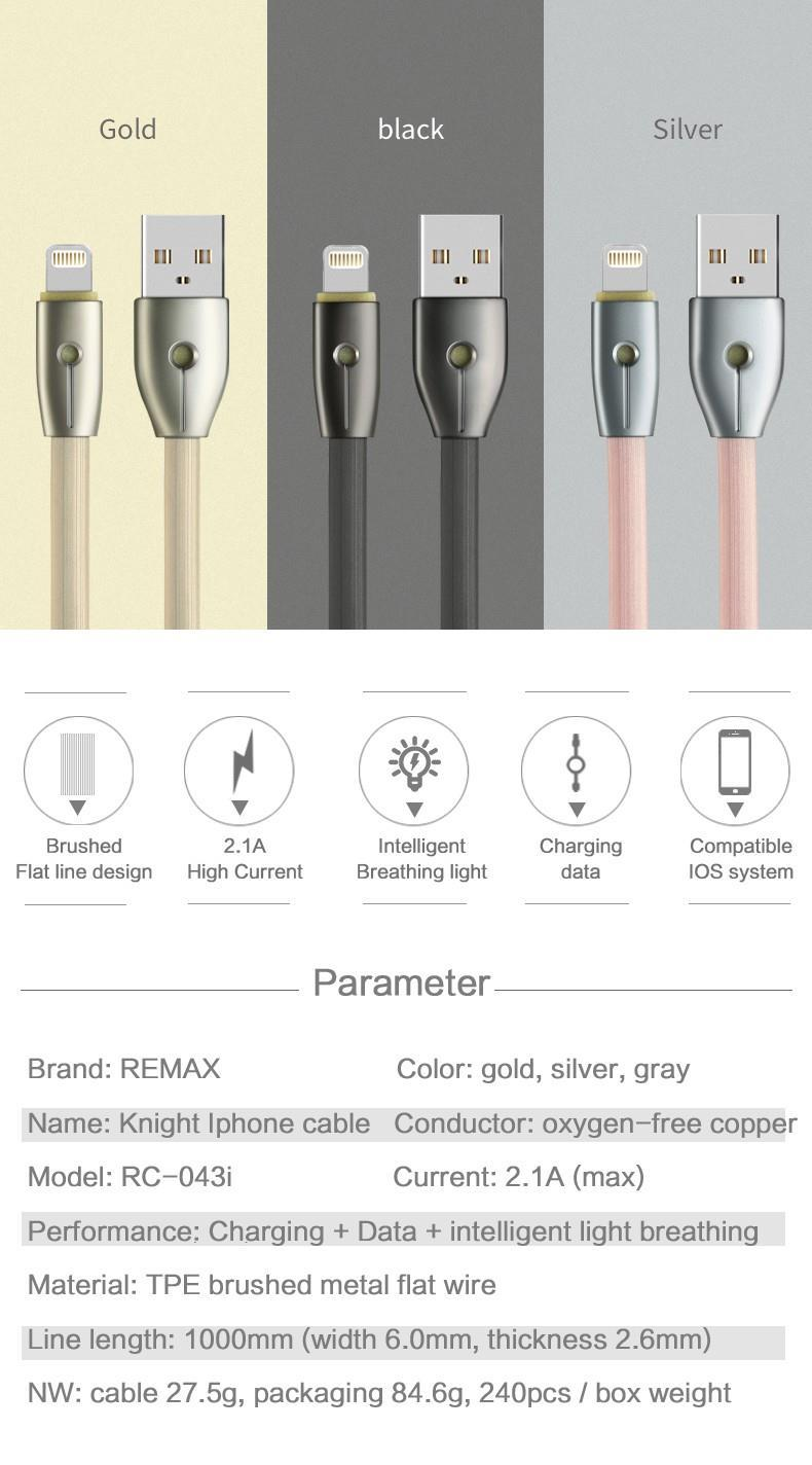 Ori. Remax Kinght Micro USB LED Breathe Cable Wire