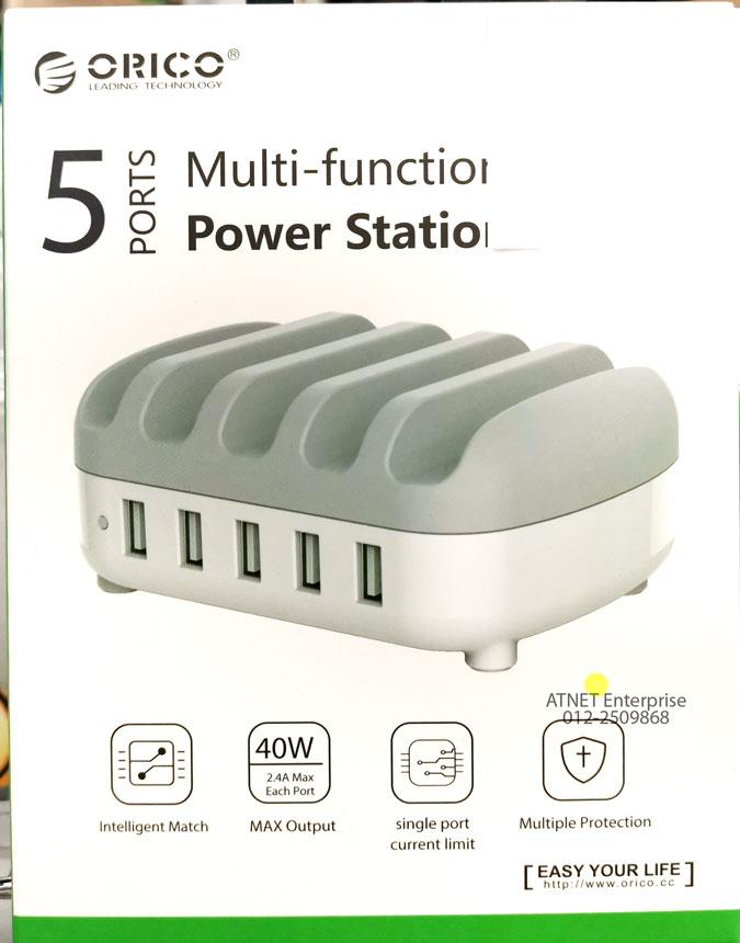ORICO 5 PORT 40W MULTI FUNCTION POWER STATION CHARGER WITH DOCK DUK-5P