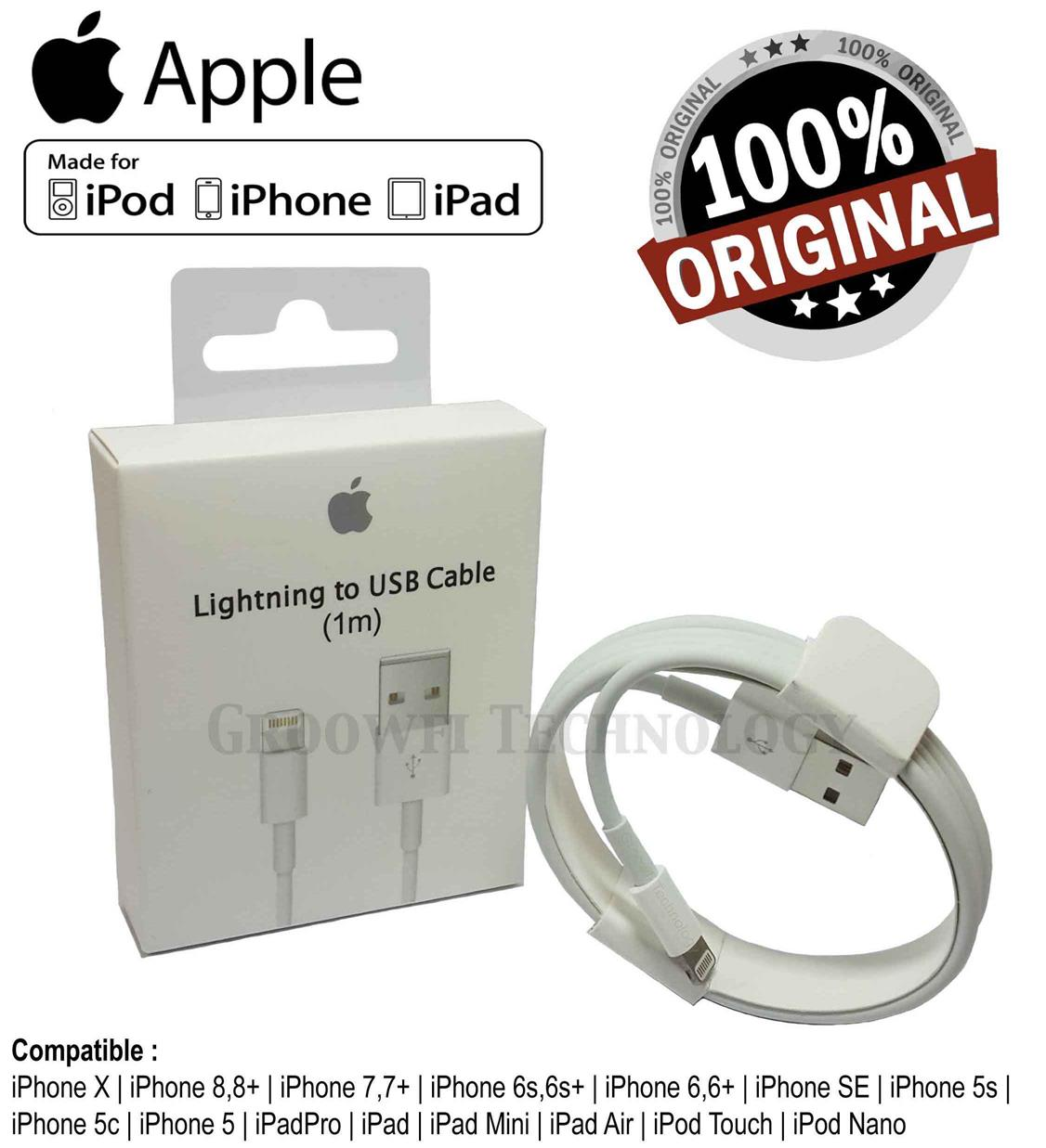 Original Apple iPhone iPad 5 6 6s 7 8 X Lightning USB Data Cable (1m)