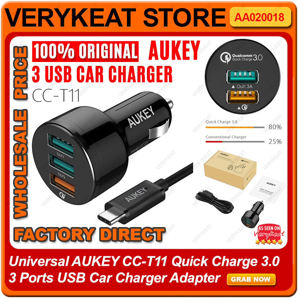 Original AUKEY CC-T11 Quick Charge 3.0 3 Ports USB Car Charger Adapter