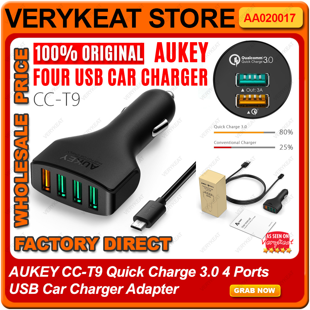 Original AUKEY CC-T9 Quick Charge 3.0 4 Ports USB Car Charger Adapter