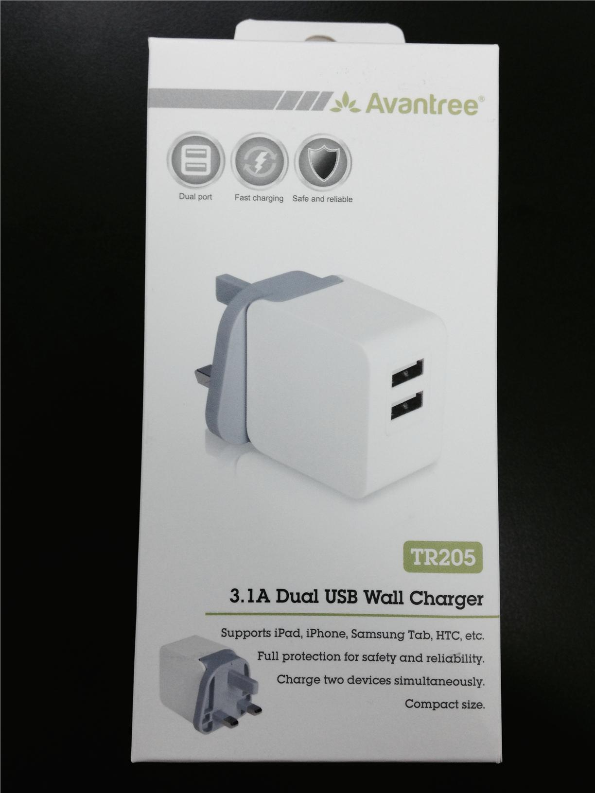 ORIGINAL AVANTREE TR205 Dual USB Wall Charger ~3.1A Fast Charging