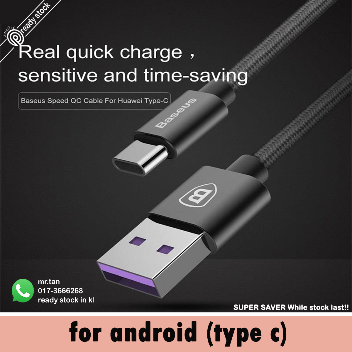 Original Baseus Speed Type C Type-C Data USB Cable Port Quick Charger 5A 100cm