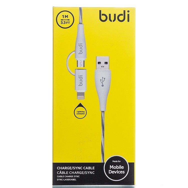 ORIGINAL budi M8J010 2in1 1.0m Durable Cable Lightning+ Micro USB ~WHT