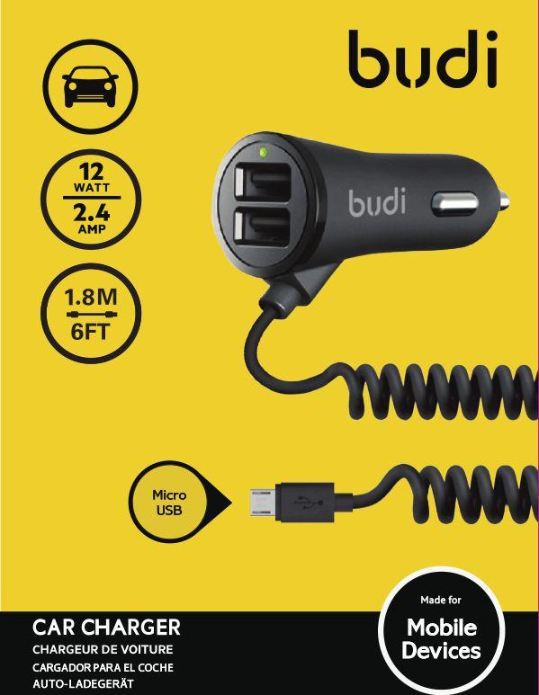ORIGINAL budi M8J068M Dual USB 2.4A Car Charger +1.8m Micro USB Cable