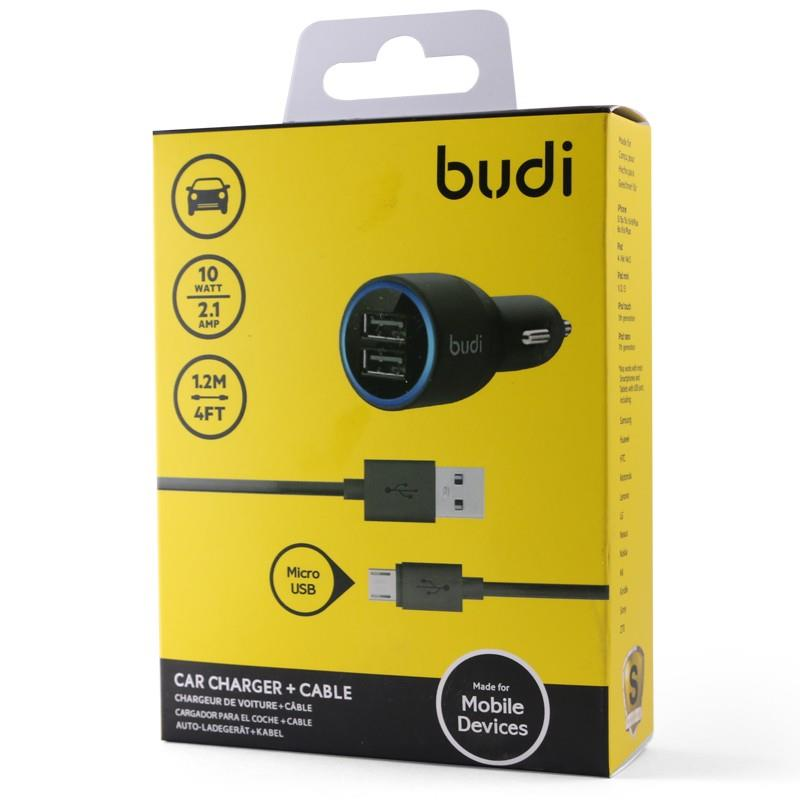 ORIGINAL budi M8J070 Dual USB 2.1A Car Charger +1.2m Micro USB Cable
