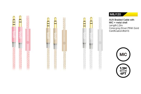 ORIGINAL budi M8J120 3.5mm Audio Jack AUX IN Cable (Male to Male) *MIC