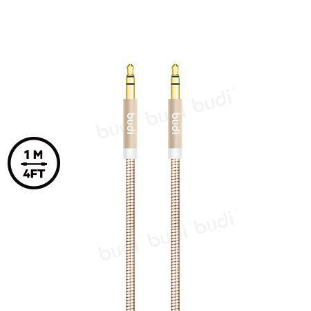 ORIGINAL budi M8J130 3.5mm AUX IN Metal Spring Cable (Male-Male) GOLD