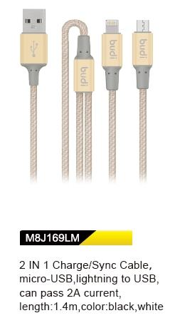 ORIGINAL budi M8J169LM 1.4m Durable 2in1 Cable Lightning/MicroUSB GOLD