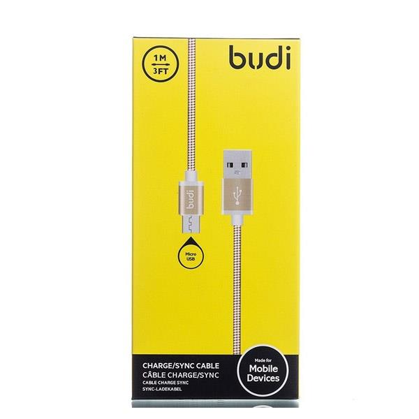 ORIGINAL budi M8J172M 1.0m Durable Metal Spring 2.4A Micro USB Cable
