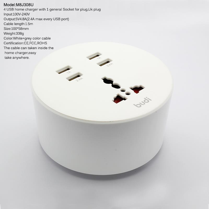 ORIGINAL budi M8J308U 4x USB Home Charger with Socket 1.5m Extension