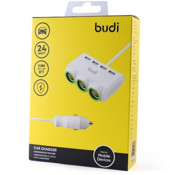 ORIGINAL budi M8J650 4x USB 24W Car Charger Adapter with 3x Socket