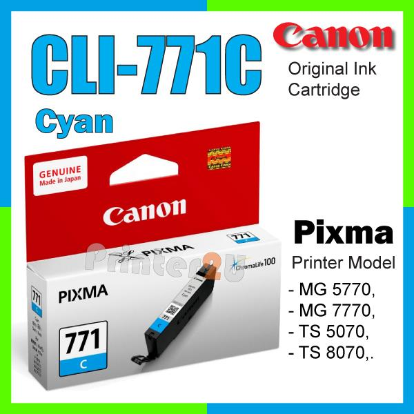 Original Canon Inkjet Ink Cartridge CLI-771 C Cyan TS5070 TS8070 771C