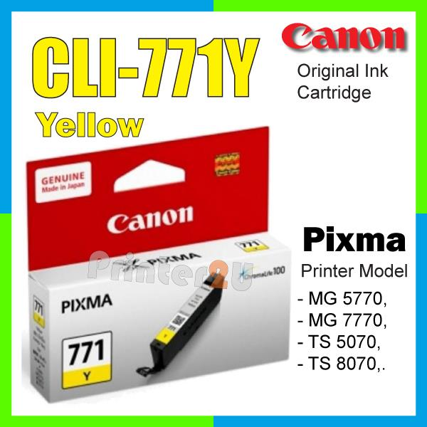 Original Canon Inkjet Ink Cartridge CLI-771 Y Yellow TS5070 TS8070 770