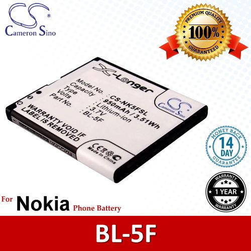 Original CS Phone Battery NK5FSL BL-5F BL5F Nokia N93 N93i Battery
