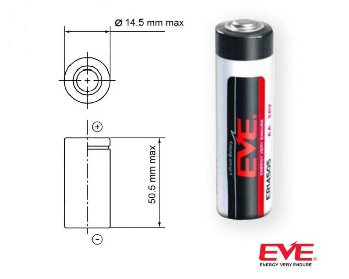 Original EVE ER14505 (AA) 3.6V AA Type 2700mAh Lithium Battery