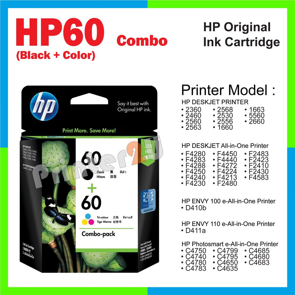 Original HP 60 Ink HP60 Combo Black Color F2423 F2410 F2430 F4583