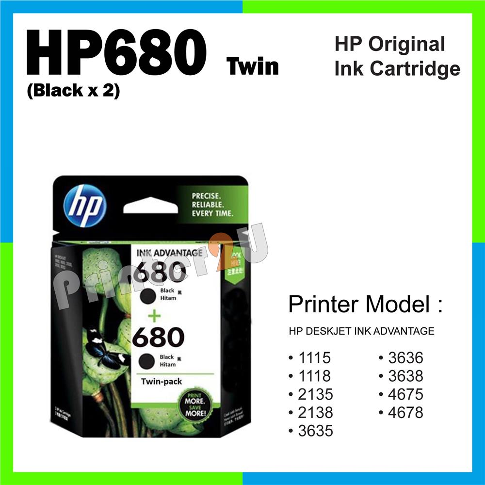 Original HP 680 Twin 1115 1118 2135 2138 Inkjet Ink Cartridge/Black x2