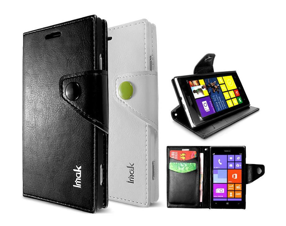 Original Imak Nokia Lumia 925 Flip Leather Case Cover Screen Protector