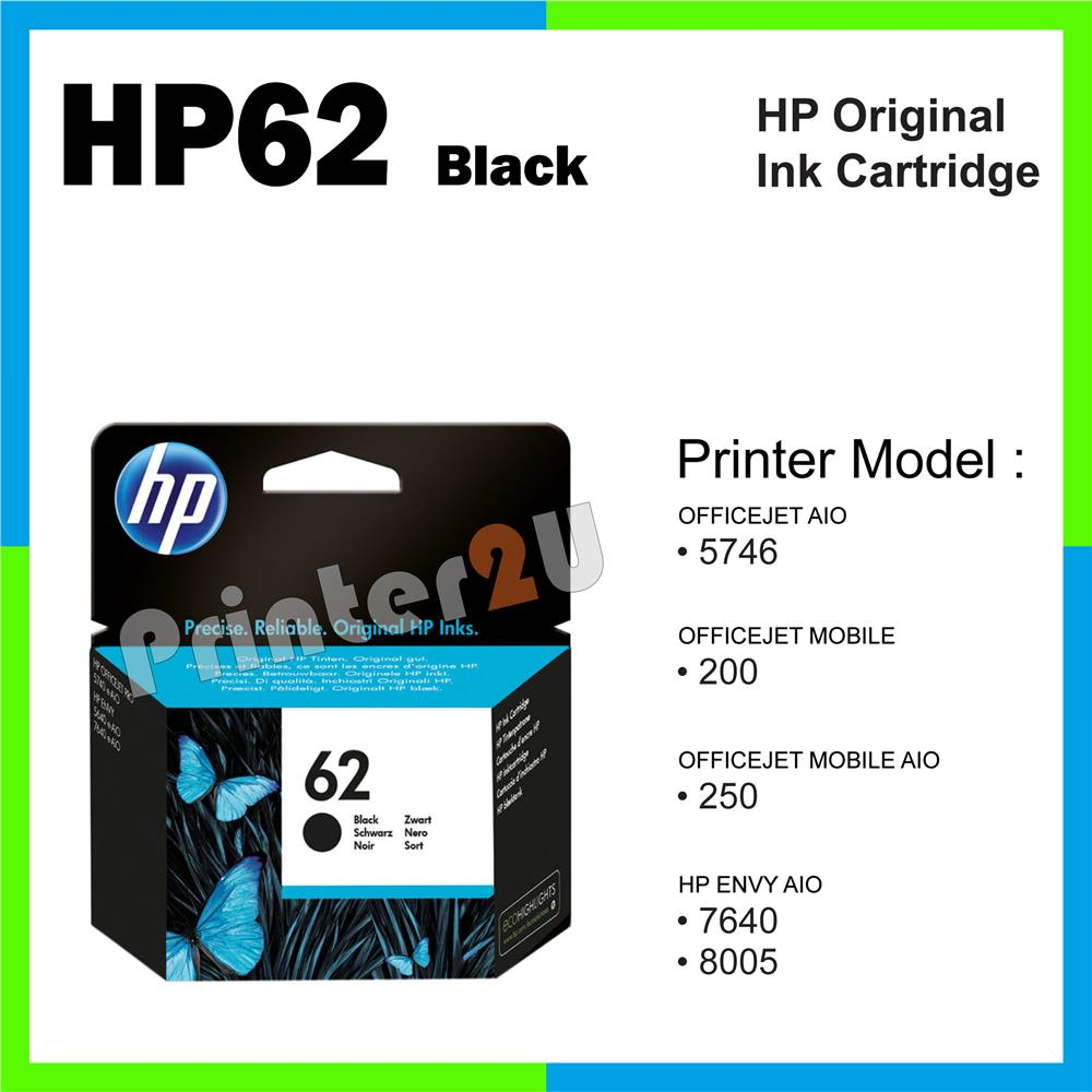 Original Inkjet Ink Cartridge HP 62 Black 5746 200 250 HP62