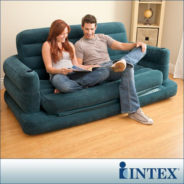 Original Intex Inflatable Pull Out Sofa Bed Air Sofa ~ Queen Size