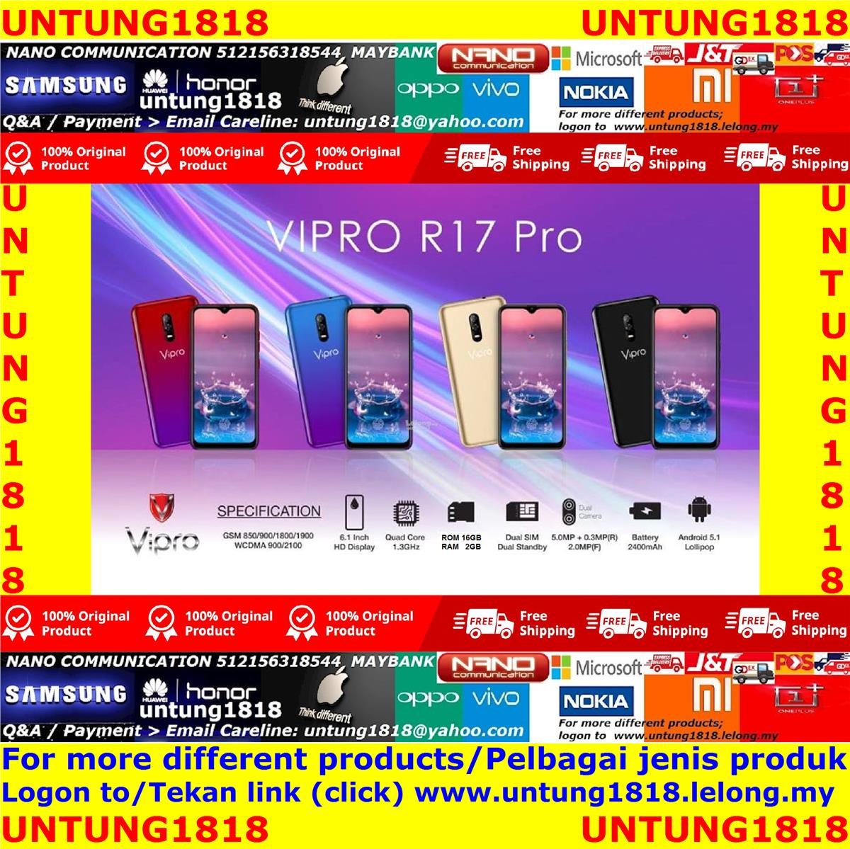 Original Malaysia ViPro.ViPro R17 Pro 6.1' inch Android Smartphone