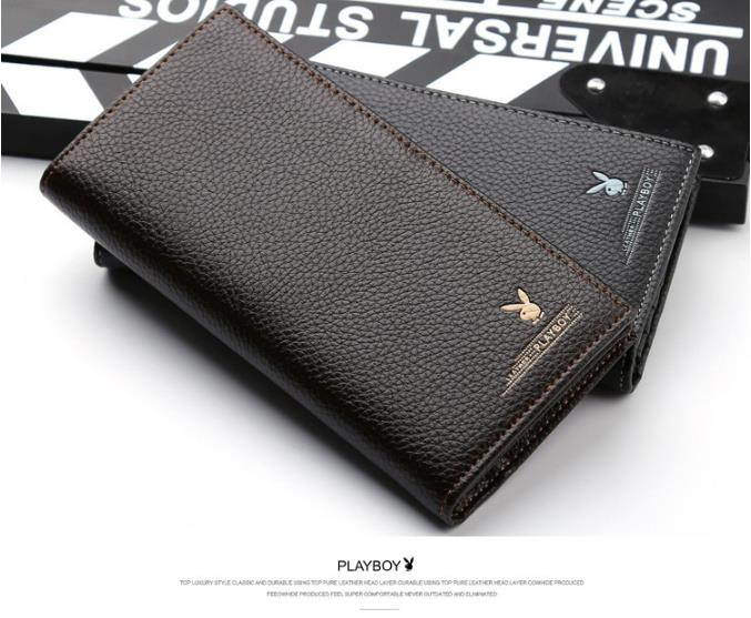 Original Playboy Men Leather Wallet High Quality Long Size Free Box