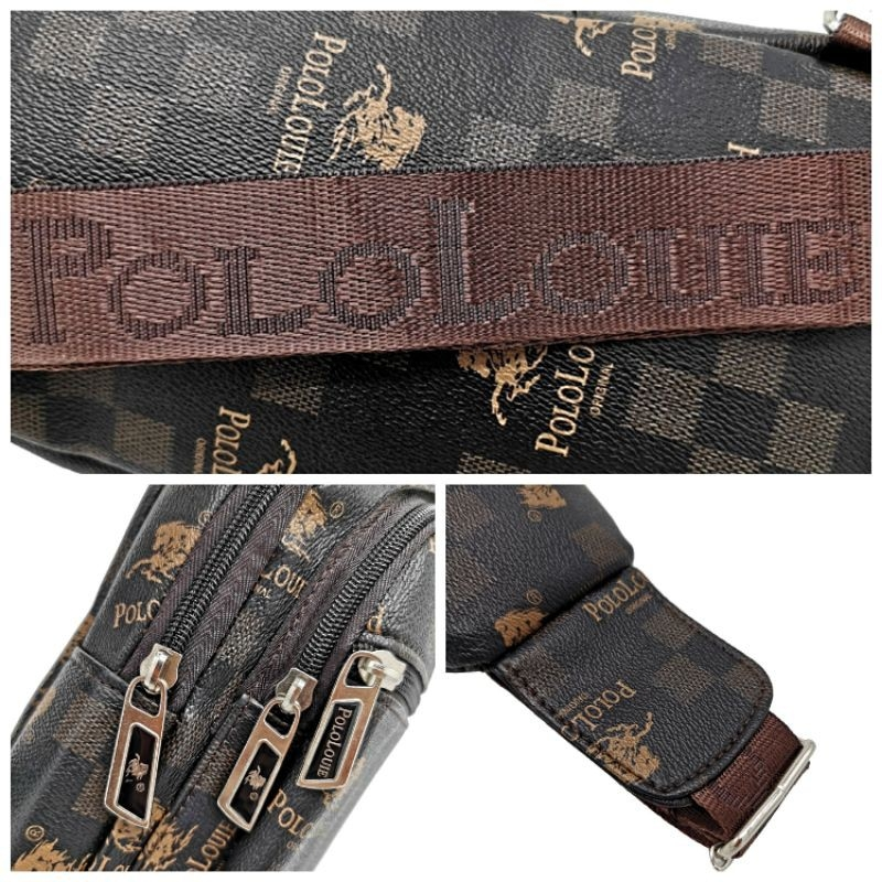 Original Polo Louie Men Luxury PU Leather Fashion Chest Bag Sling Bag