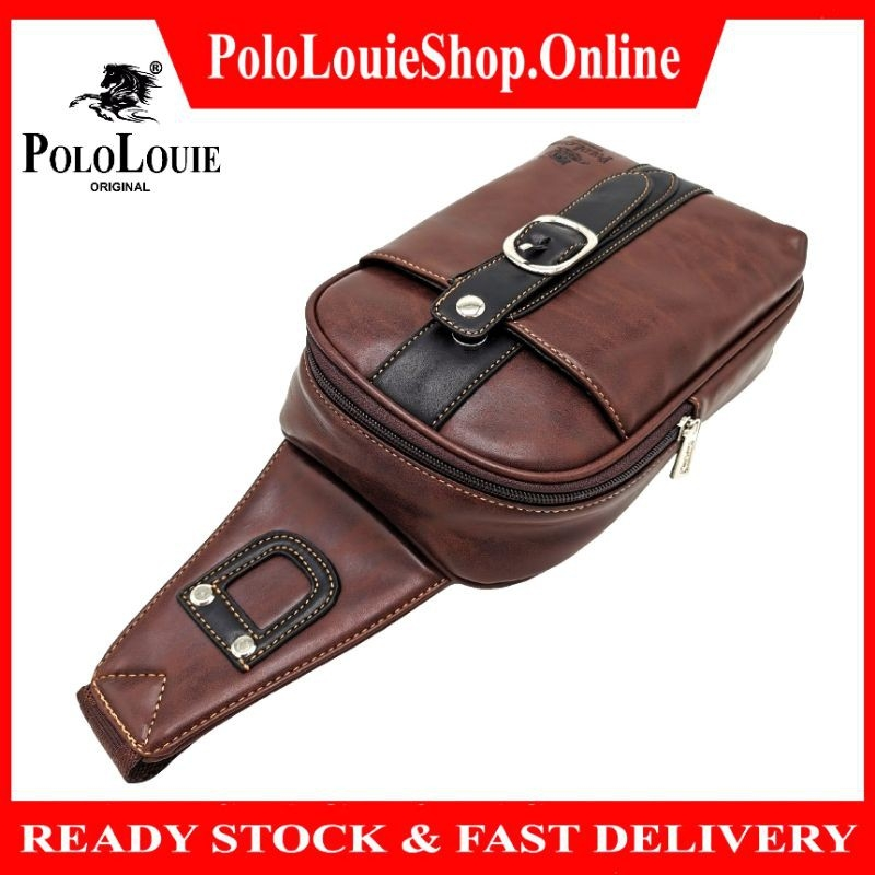 Original Polo Louie Men Smooth Vintage Leather Chest Bag CrossBody