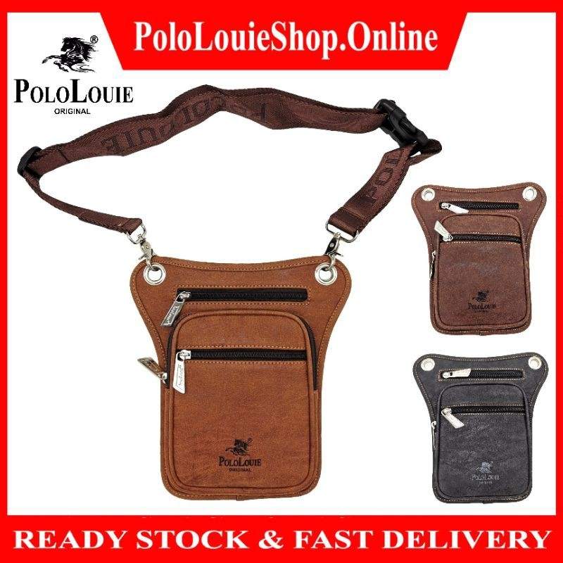 Original Polo Louie Men Thick Leather Waist Bag Sling Shoulder Bag