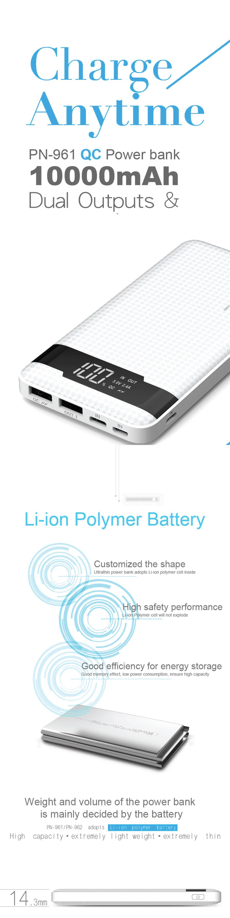 ORIGINAL Power Bank PowerBank PINENG PN-961 10000mAh 1 YEAR WARRANTY