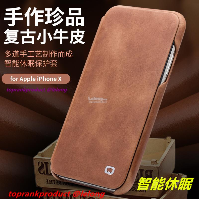 Original Qialino iPhone X Flip Smart Cow Leather Case Cover Casing