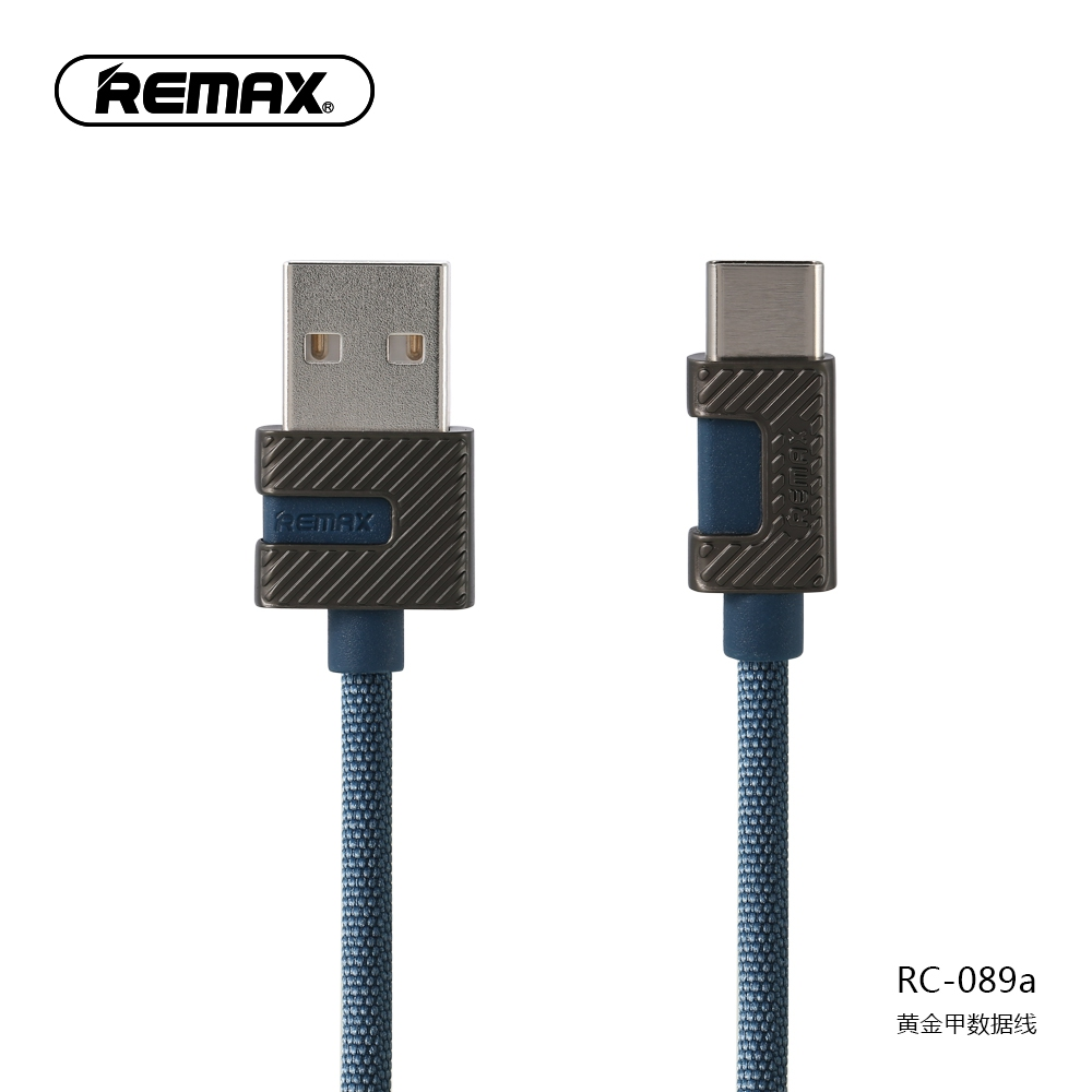 Original Remax RC-089a Zinc Alloy Type C Wired USB Cable 1M Fast Charge 2.4A D