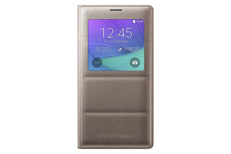 reputable site d4dcd 1d692 Original Samsung Galaxy Note 4 S-View Smart Cover Leather Case Gold