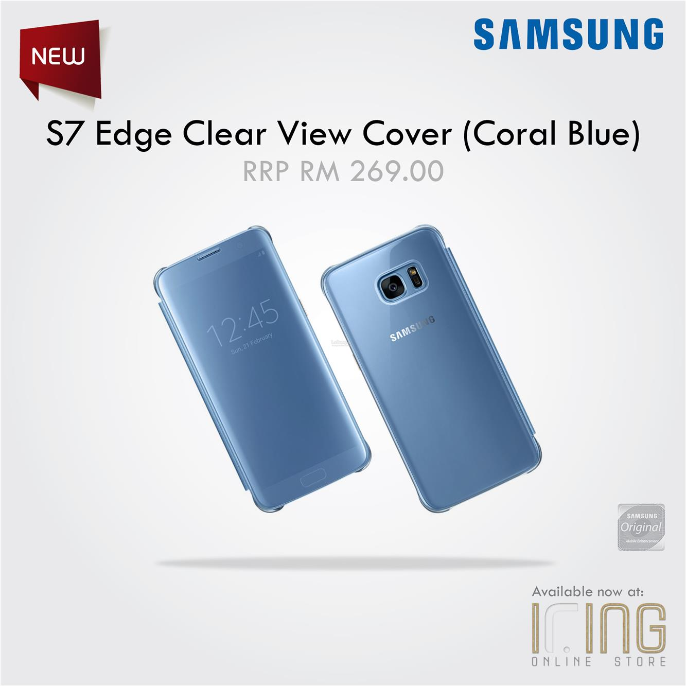 cheap for discount 6a8bf 86d0d Original Samsung S7 Edge (Coral Blue)Clear View Cover [EF-ZG935CFEGWW]
