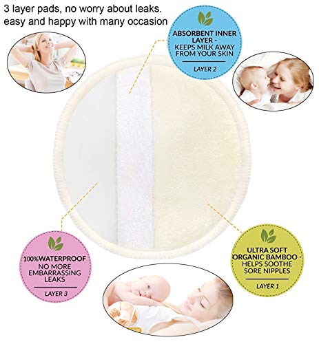 *Original* From USA Organic Bamboo Nursing Pads (10 Pack) for Breastfeeding Mo