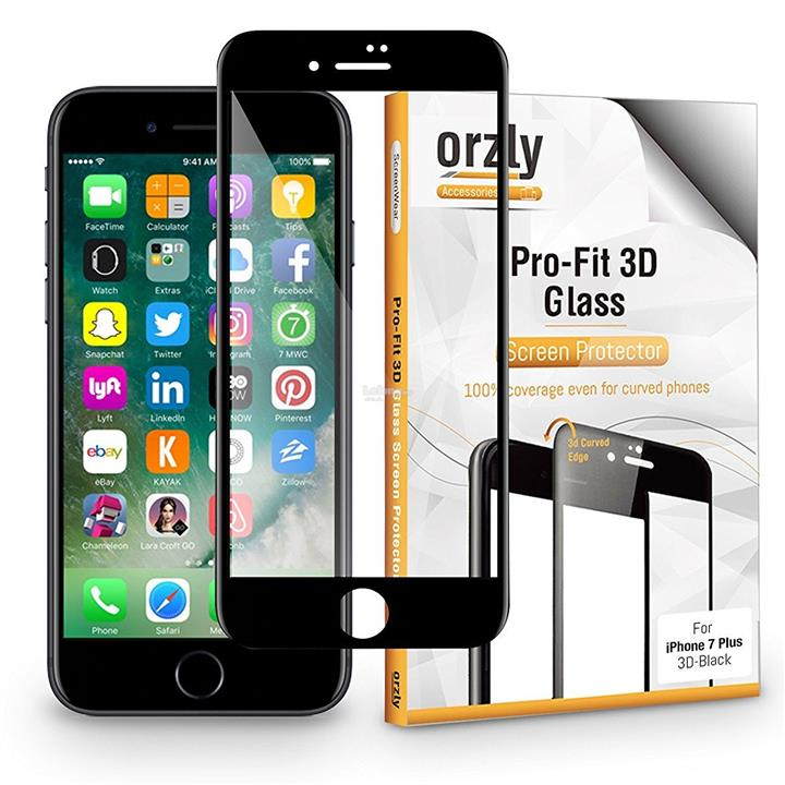 Orzly 3D Pro-Fit Tempered Glass [Full Cover] for iPhone 7 / 7 Plus 7+