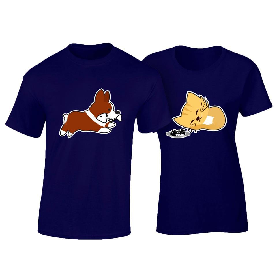 Design t shirt johor - Os513c Osummer Cat Dog Couple T Shirt 2pcs