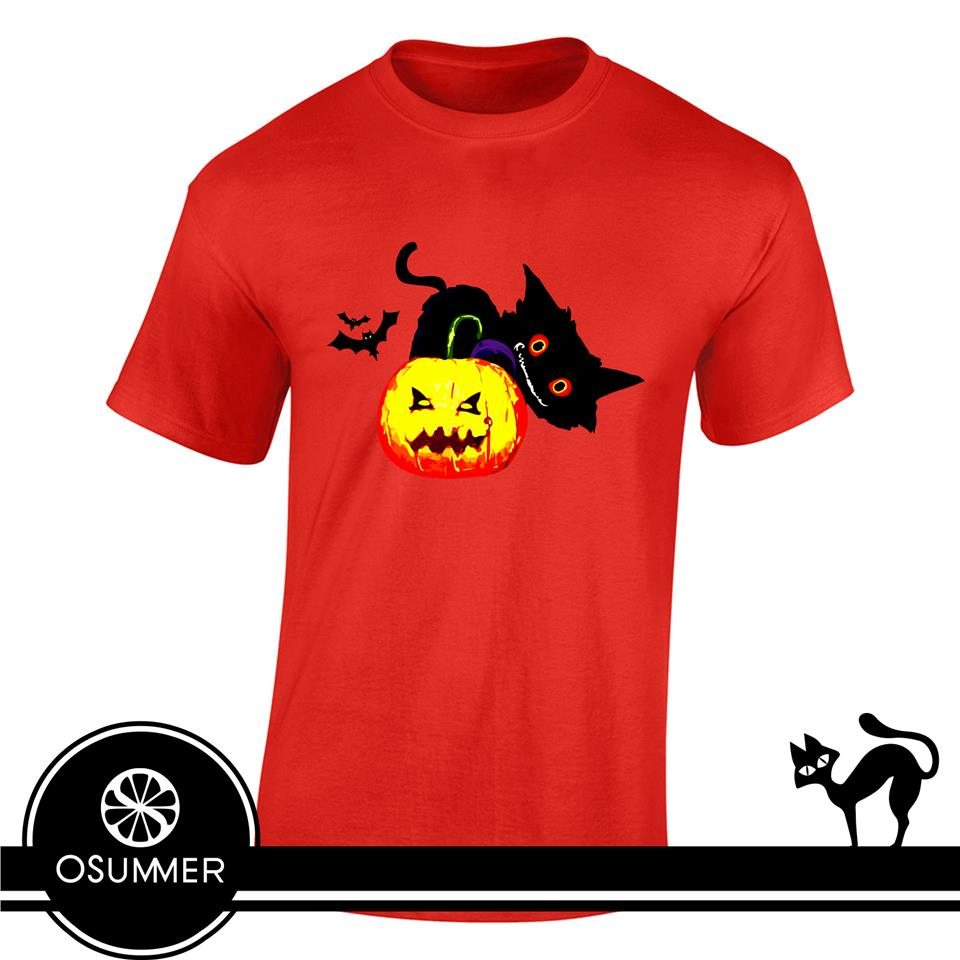 OS608M OSUMMER Pumpkin Cat Men Male Tshirt
