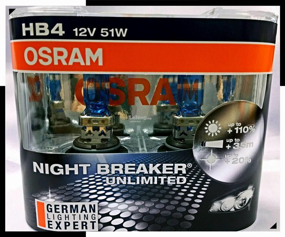 OSRAM HB4 9006 12V 55W NIGHT BREAKER UNLIMITED
