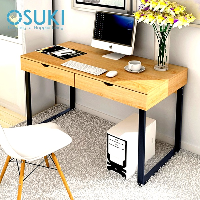 OSUKI Home Office Table 120 x 52cm Double Drawer S858 (Brown)