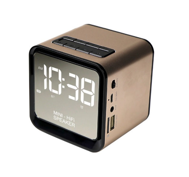 OSUKI Wireless Bluetooth FM Radio Stereo Speaker LED Alarm Clock(Gold)