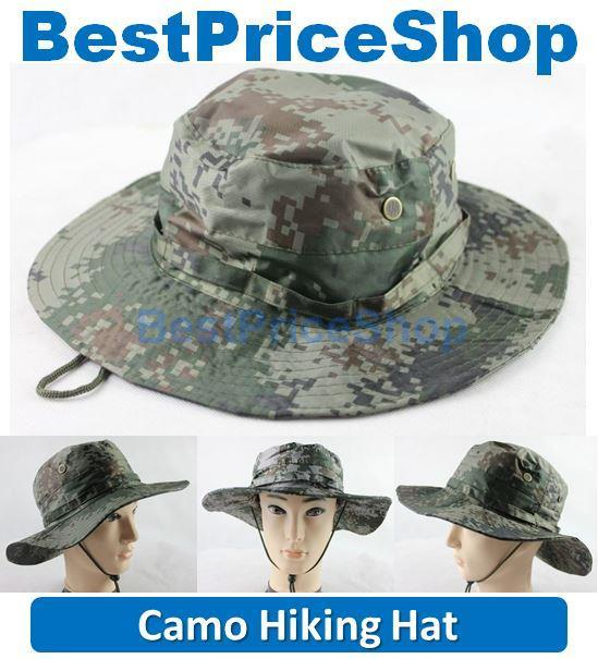 Outdoor Camo Hiking Army SunBlock Brim Cowboy Fishing Boonie Hat Cap