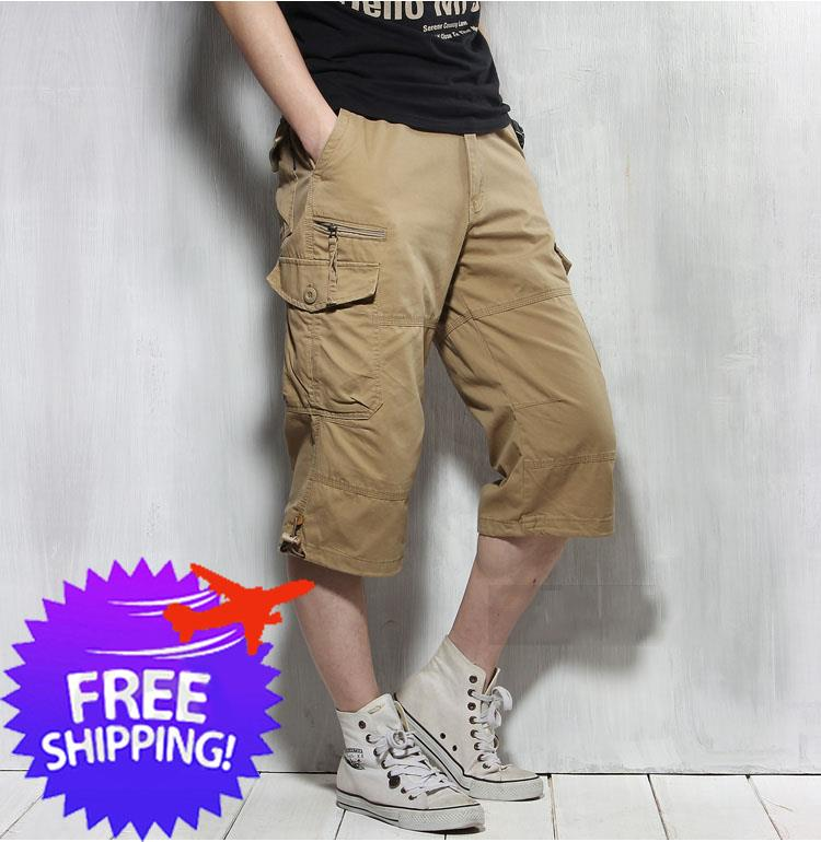 Outdoor Men Knee Length Multi Pockets Casual Short Pants