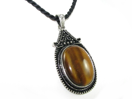 Oval tigers eye pendant necklace i end 11282018 422 pm oval tigers eye pendant necklace in zinc alloy setting aloadofball Images