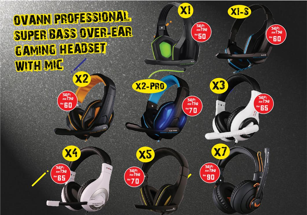 Ovann Professional Super Bass Over-ear Gaming Headset with Mic X1/X1-S