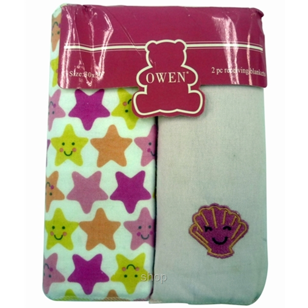 Owen Receiving Blankets 2 Piece Set (Pink-Stars)
